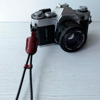 isni [camera wrist strap / leather rope ] deep-red color /simple & safety design