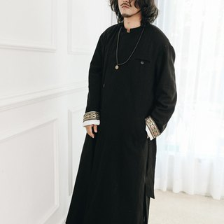Raglan Chinese cotton long robe