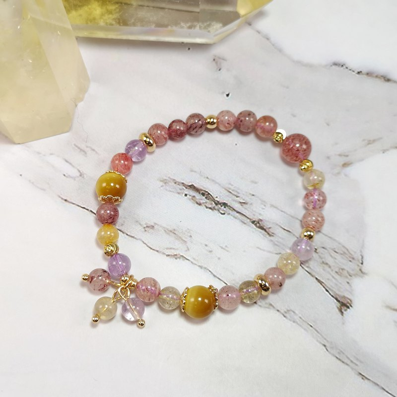 Super seven 、tiger eye、strawberry crystal  bracelet