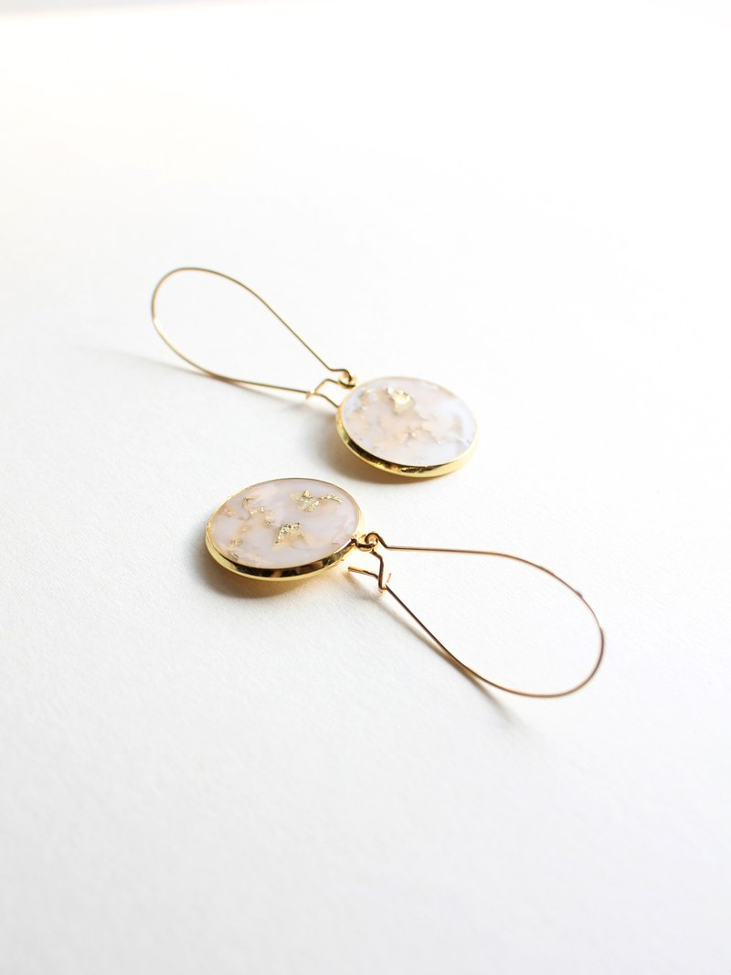 Sheet metal / mirror / gold handmade pendant ear hook earrings