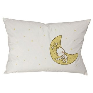 """Foufou"" pillow cover (single-entry) - Have A Nice Dream (gray / white)"