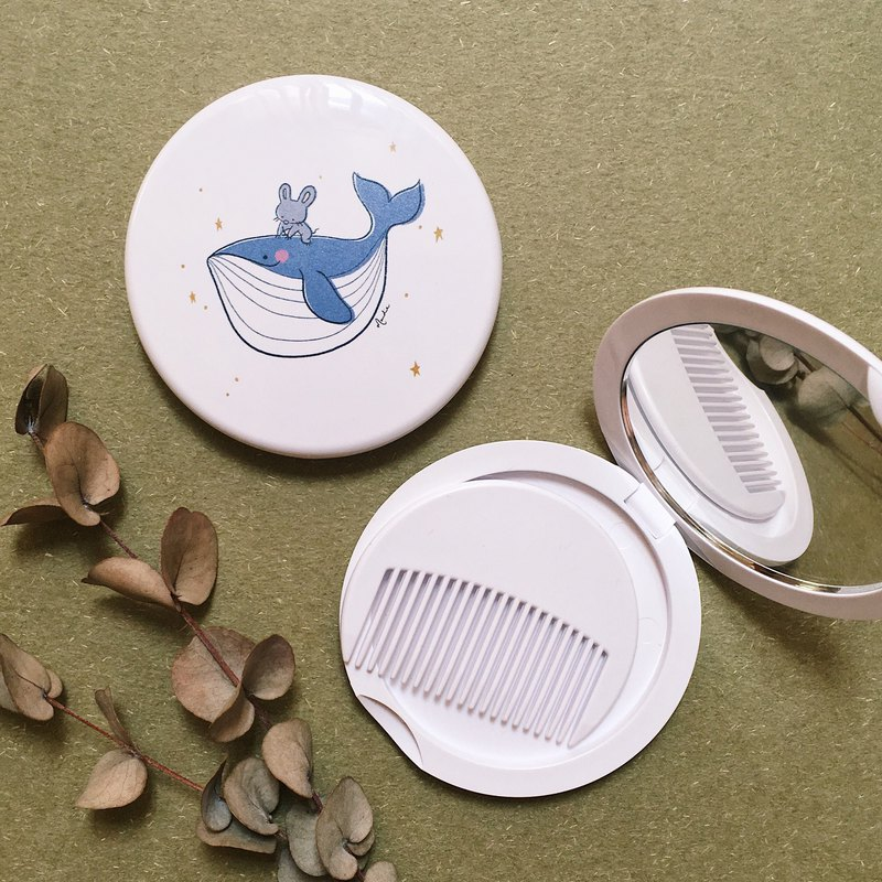 Squeaky and Whale Pocket Mirror