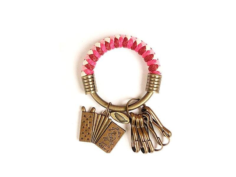 Key ring (small) 5.3CM wine red + peach red + pink + white + accordion hand-woven custom