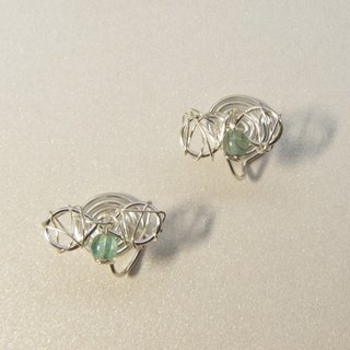 Metal-hand-made glass ear clip - bright silver (pure handmade. Gift. Jewelry. US imports. Ear clip. Gift box.