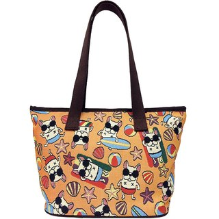 Jacquard weave painting Tote law bucket Summer Fun (bright orange) Coffee