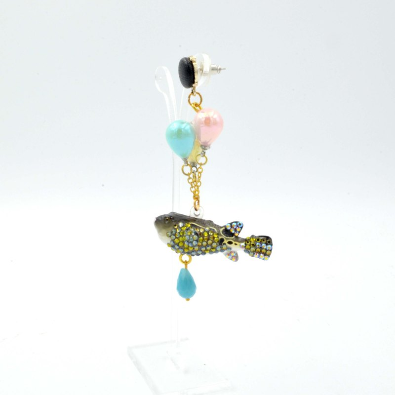 Hot air balloon chicken fish earrings decorated with square Swarovski crystal