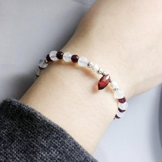 MH pure silver natural stone custom series _ courage of the spring _ garnet