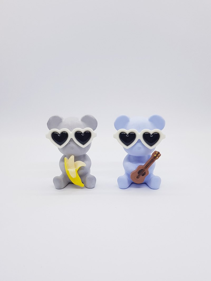 [Miss Feng] Love Glasses Bear - Banana - Guitar - Valentine's Day Gift - Graduation Gift