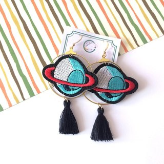magicands embroidery planet cute personality exaggerated ear ear clip