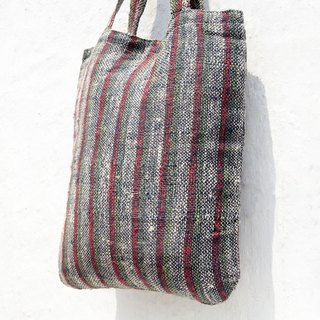 Limited handmade natural cotton linen hand weave striped light bag / backpack / side bag / shoulder bag / travel bag - color straight stripes