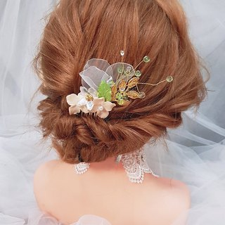 Garden-style hand-made flower yarn hand made bridal tiara two-piece