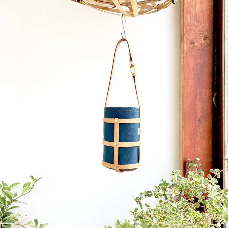 Japanese canvas green cup bag / blue