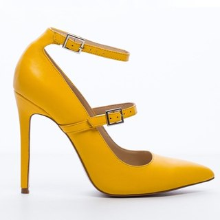 Saint Landry [French] bicyclic design high-heeled shoes - yellow sun