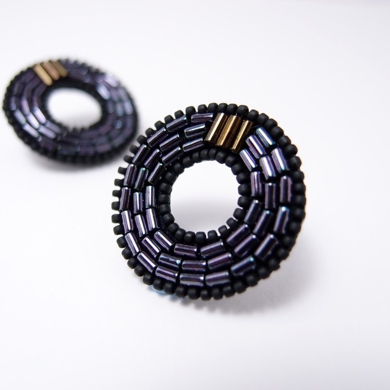 Concentric Circles Embroidery Earrings / Deep Blue