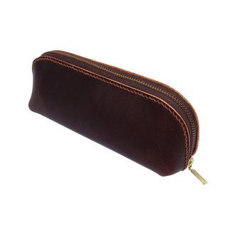 Student pencil case/hand dyed/double needle hand sewing/customized/Italian vegetable tanned leather