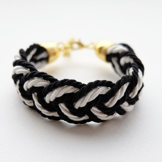 Black and white rope braided bracelet
