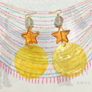Shell style star love transparent candy color natural shell beaded earrings ear clip sheet