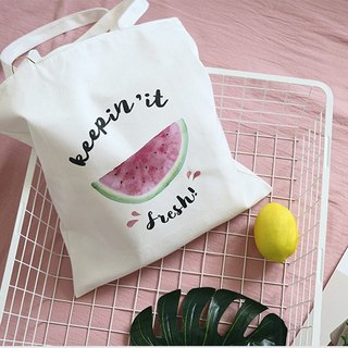Color-Up hand-painted series - watermelon canvas printing Tote