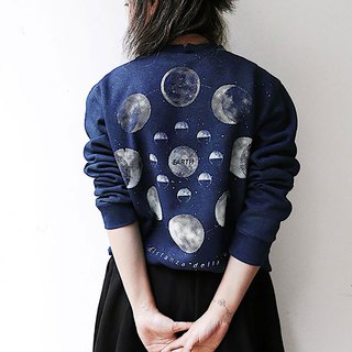 [fasti years old] grass dyed blue dyed Indigo sweater - navy blue moon phase