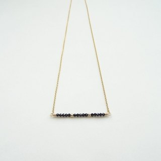 ::Gemming Geometry:: Dainty Black Spinel Beaded Bar 14K Gold Filled Necklace