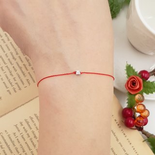 Sterling silver ultra small 2.8mm four claws red line bracelet mini single drill temperament red rope