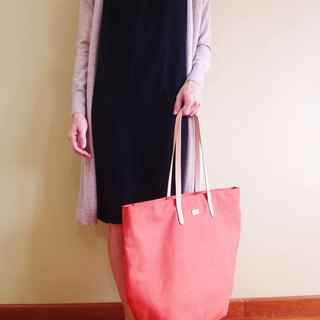Canvas Beach Tote Bag with Leather Strap - Mustard / Terracotta