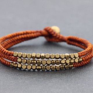 Raw Brass Cube Beads Woven Bracelets Multi Strand Brown Woven Cuff