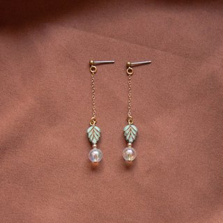 Sage Green Leaf Bubble Earrings