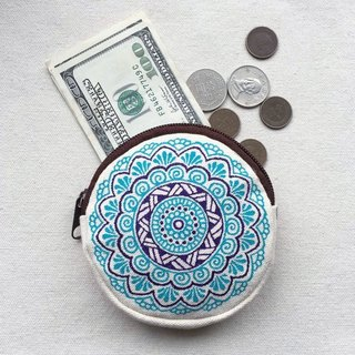 Coin Purse Zipper Pouch Mandala Pattern Hand Painted Henna Bag Art Round Cotton Canvas Mehndi Gift Hand Drawn