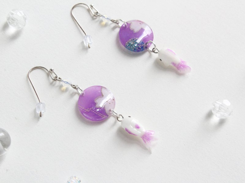 Handmade Goldfish earrings purple