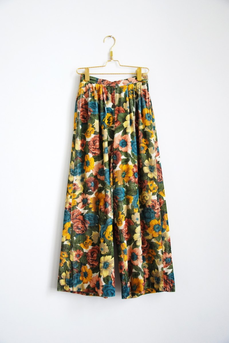 Vintage suede full version flowers high waist wide pants
