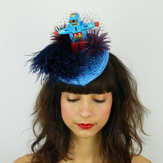 Pillbox Hat Fascinator Headpiece Feathered with Vintage Replica Robot Toy, Statement Cocktail Party Hat, Rockabilly Modern Burlesque