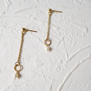 Package 14K needle basic small pearl hanging earrings