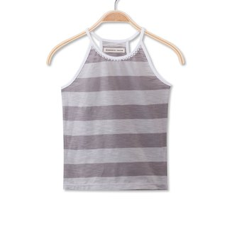 Thin shoulder strap cocoa striped vest