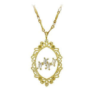 Lace. Classic brass necklace