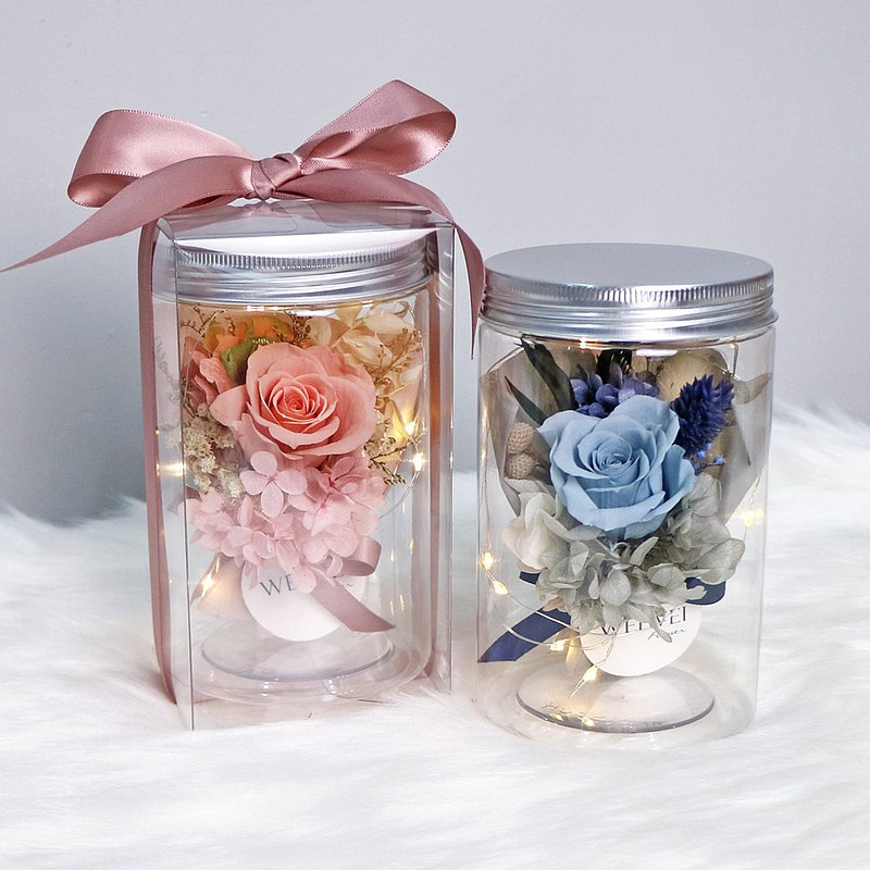 LED玫瑰小花束永生花罐 發光瓶 婚禮小物 畢業禮物 交換禮物