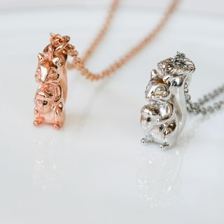 Squirrel holding pine cone three-dimensional necklace in two colors optional 925 sterling silver