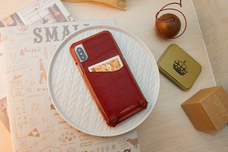 iPhone X / Xs Hybrid Mini Leather Case - Crimson