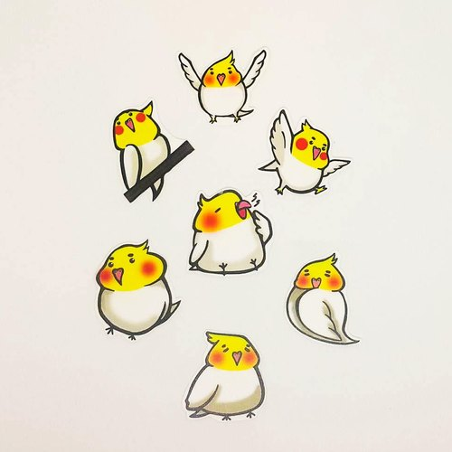 Cockatiels sticker pack