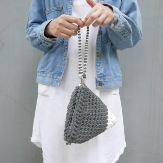 Duo Color Triangle Handbag, crochet, knit, handmade (Inked / Dark Grey)