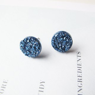 Rosy Garden blue rocks chip resin earrings