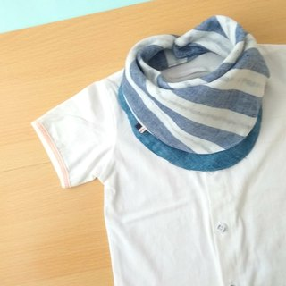 Baby Bnadana Bib,Reversible Baby Scarf,Blue White Stripes,Denim Print,Simple