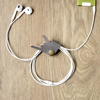 Hand-dyed series music, please don't stop rocking, headphone cable, storage leather earphone hub (gray)