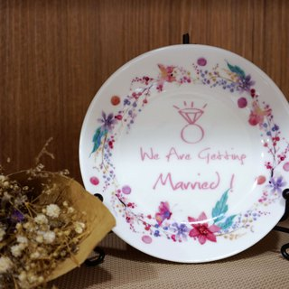 4.4 Enamel Plate - Pinken Wreath Small Plate Customized / Wedding Accessories / Wedding Gifts
