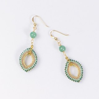 Green Aventurine Gemstone Boho Earrings, 14K gold filled, 389