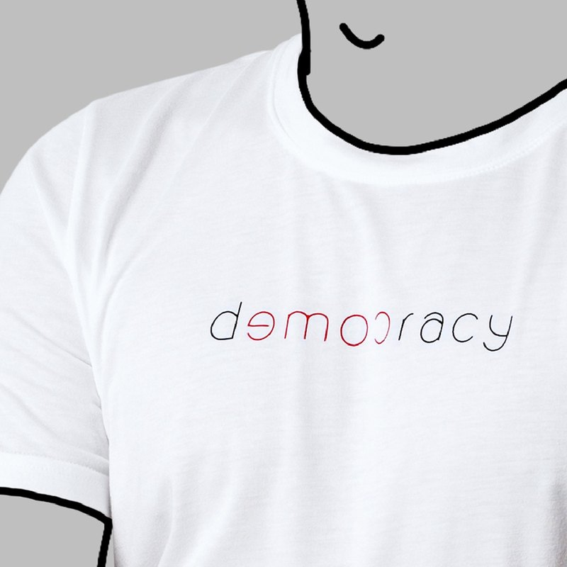 【White】Democracy Come T-Shirt / 100%cotton / Words for MIRROR only / MIT