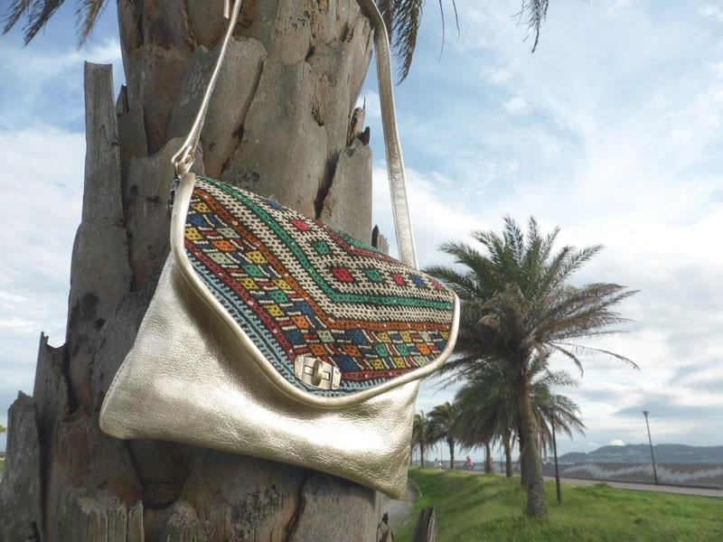 Vintage kilim clutch bag * gold