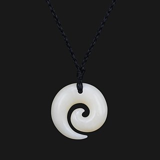 Koru Necklace New Zealand Maori bone carving Handcarved pendant