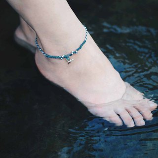 Ocean color | sterling silver x wax line x foot rope x anklet x foot ring. customized.