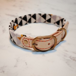 Dog L-necklace black and white gray triangular checkered giraffe tannery cotton rope hoop tag scarf around pocket